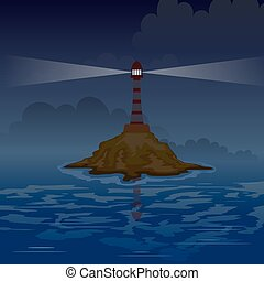 Lighthouse on the island at night with rays. Vector illustration