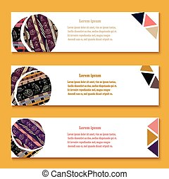 Set of abstract African tribal style geometric banners. Vector illustration