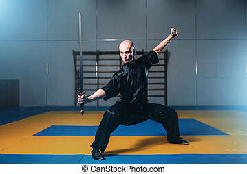 Wushu fighter with sword in action, martial arts. Man in...