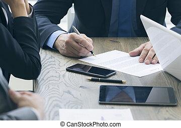 人, ビジネス, 契約, 印