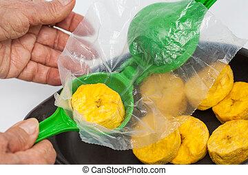 preparación, Plátano, tazas, verde