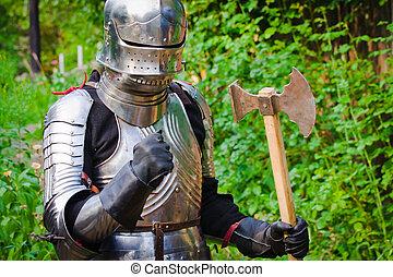 armadura, cavaleiro, brilhar