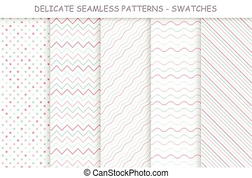 Collection of seamless delicate patterns. Soft colors - good...