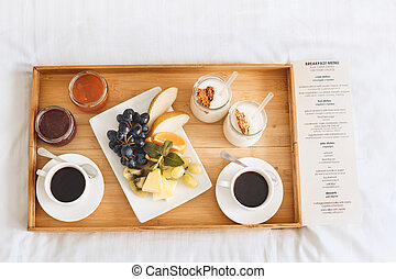 Fresh breakfast isolated no people room service - Healthy...