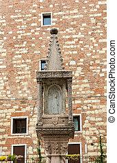Old market column at the Piazza delle Erbe in Verona,...