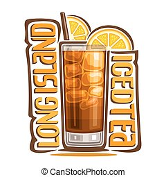 Cocktail Long Island Iced Tea - Vector illustration of...