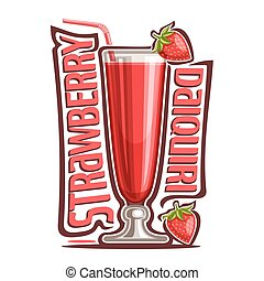 Cocktail Strawberry Daiquiri - Vector illustration of...