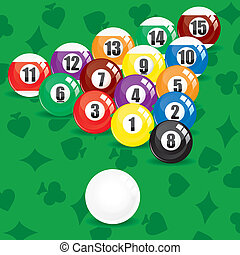 Billiard soccer and pool balls on green background, vector...