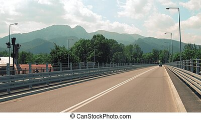 Spectacular view to the Tatra mountains from the car bridge....