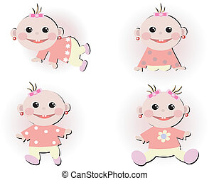 Set icons with four baby girls
