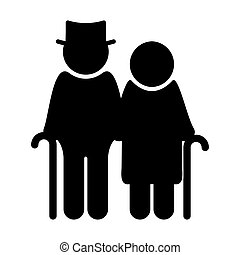Senior couple - Vector illustration of the black and white...