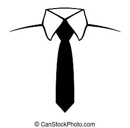 Necktie - Vector illustration of the black tie on a white...