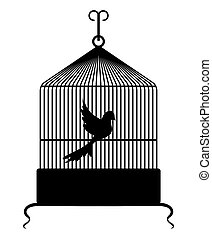 Birdcage - Vector illustration of the bird in a cage