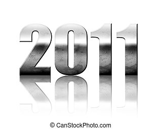 New year - 2011 - 2011 chrome number with reflection...