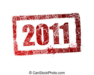 2011 - Red 2011 stamp on white background, Illustration