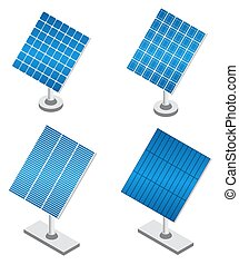 Set of solar panels in isometric projection.