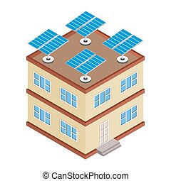House with solar panel on roof.