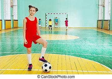 posición, Pelota, deportivo,  futsal, niña, futbol
