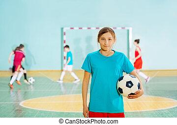 posición, escuela, Pelota, gimnasio, niña, futbol