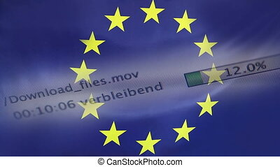 Downloading files on a computer, European Union flag -...