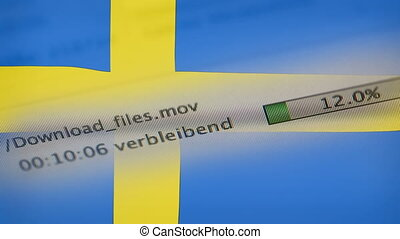 Downloading files on a computer, Sweden flag - Downloading...