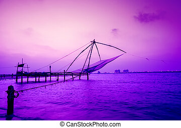 beautiful night scene of Kochi chinese fishnets, Kerala....