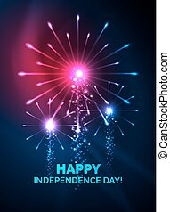 Happy Independence Day 4 july fireworks design, glowing...