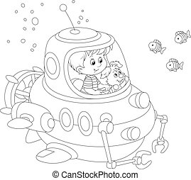 Little submariner under water - Black and white vector...