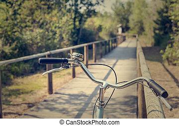都市, 自転車, 自転車, クローズアップ, 道, ハンドル, 味方