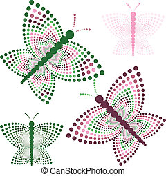 Four Stylized Butterflies, change the colors as you like
