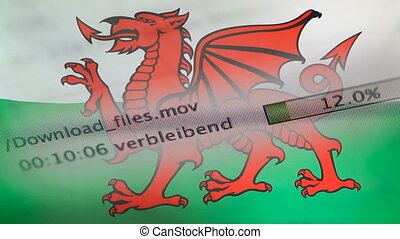 Downloading files on a computer, Wales flag - Downloading...