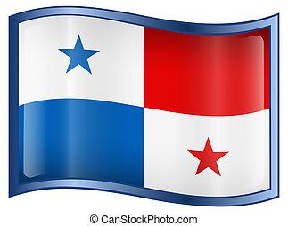 Panamá, bandera, icono, aislado, blanco, Plano de...