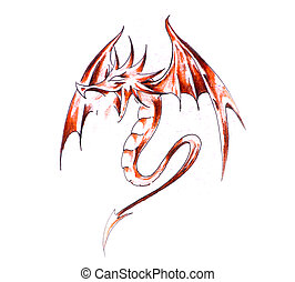 Sketch of tattoo art, red dragon
