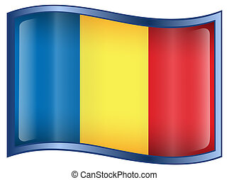 Romania Flag icon, isolated on white background.
