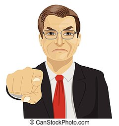 Angry mature businessman pointing his finger at you