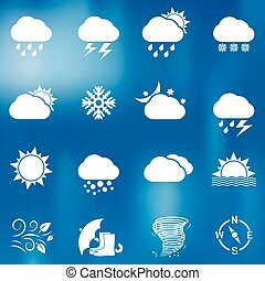 Weather icons on blurred background - Weather icons set on...