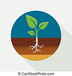 Growing sprout flat icon