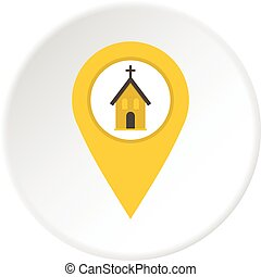 Yellow map pointer with church sign icon circle