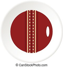 Red leather cricket ball icon circle - Red leather cricket...