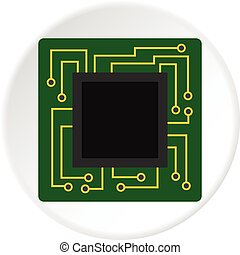 Microchip icon circle - Microchip icon in flat circle...