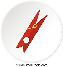 Red clothes pin icon circle - Red clothes pin icon in flat...