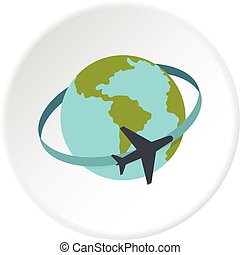 Travelling by plane around the world icon circle