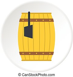 Wooden barrel with ladle icon circle