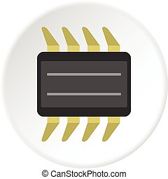 CPU icon circle - CPU icon in flat circle isolated vector...