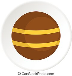 Brown with yellow stripes icon circle - Brown with yellow...