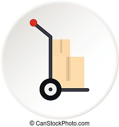 Hand cart with two cardboard boxes icon circle - Hand cart...