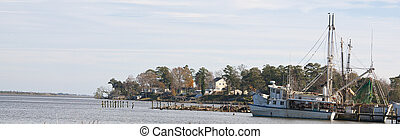 Shrimp Boat Panorama - Shrimp boats in Sneads Ferry, North...