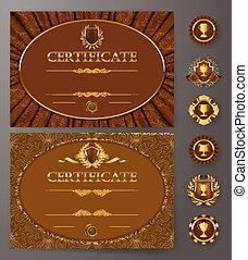 Elegant template of certificate, diploma - Set of elegant...