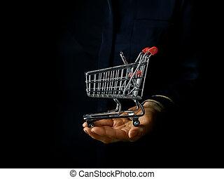 compras, actuación, carrito, mano, alameda, hembra