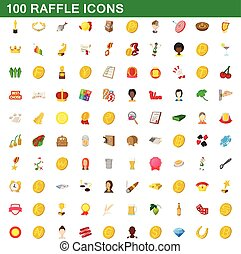 100 raffle icons set, cartoon style - 100 raffle icons set...
